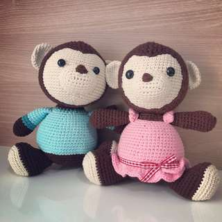 Handmade Monkey Couple (Amigurumi)