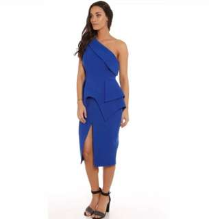 "NWOT CAMEO sz M blue ""The End one shoulder cobalt peplum dress"" wedding formal"