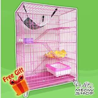 SANGKAR KUCING BESAR 4 ARAS BERODA FREE GIFT - CAT CAGE LARGE 4 FOLD (FREE GIFT)