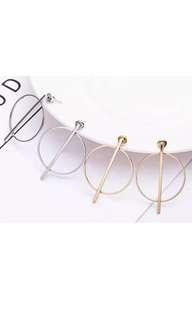 Crossed hoop stud hanging earrings women's designer gold silver