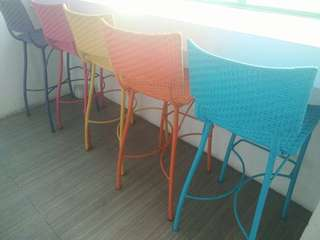 Synthetic Colored Rattan Bar High Chair