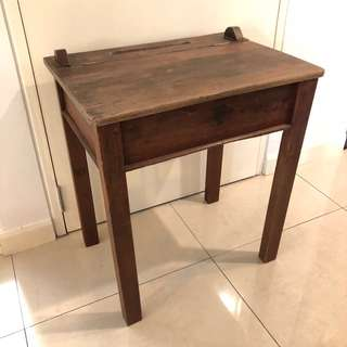 Rare find - vintage wooden school desk table