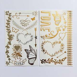 SILVER & GOLD METALLIC TATTOO PACK (HEARTS)