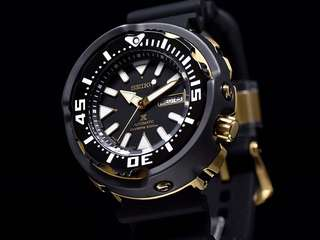 Brand New Seiko Monster Tuna Diver SRPA82 MADE IN JAPAN SRPA82J1 Black Gold with FREE DELIVERY