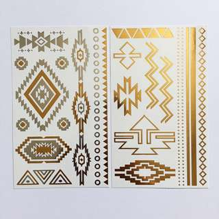 SILVER & GOLD METALLIC TATTOO PACK (AZTEC)