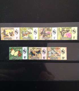 Malaysia 1971 Negeri Sembilan Butterfly Series 7V Mint (0434)