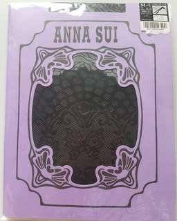 日本 Anna Sui 黑色 印花 絲襪