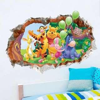 70X50cm Broken Wall Cartoon Pooh Bear Pattern Wall Stickers