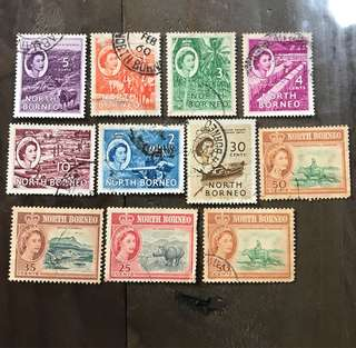 Malaya North Borneo stamps Used Lot Queen Eliz 11v