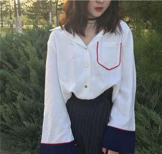 🚚 韓系撞色襯衫