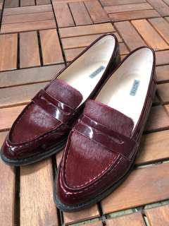 🚚 [9.5成新]NO216酒紅色樂福鞋。