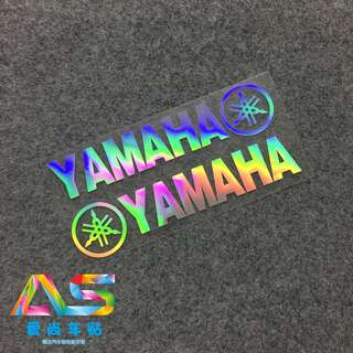 Yamaha logo sticker coverset fairings box helmet sticker decal emblem rainbow black silver