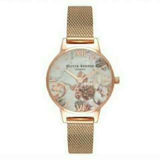 Authentic Olivia Burton Marbel Floral Rose Gold Mesh Watch