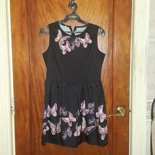 Black dress with butterfly print