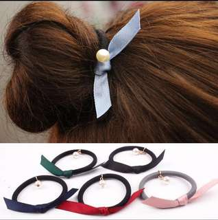 (Instock) Korean-Inspired hair ties with ribbon and pearl