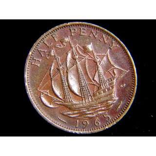 1965年大英帝國金鹿號商船(Golden Hind)1/2便士(Penny)銅幣(英女皇伊莉莎伯二世像)