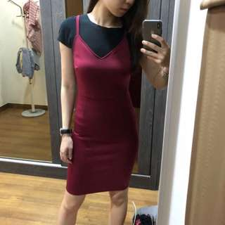 Maroon Bodycon Spaghetti Thin Strap V-Neck Red Dress