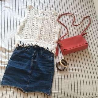 White Crochet Top with Fridge
