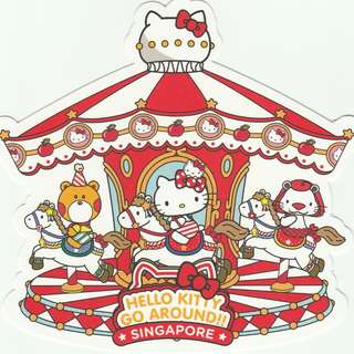 [Thick Version] Hello Kitty Go Around Singapore Gotochi Postcard - Carousel