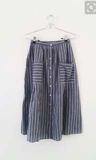 Muji Style Linen Striped Pocket Midi Skirt