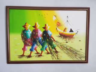 Three fisherman painting