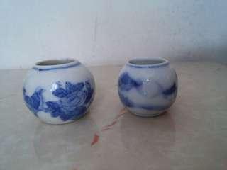 古典青花手繪陶瓷相思雀杯一對