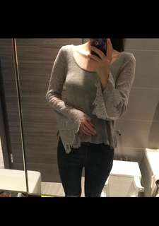 Hollister Grey Knitted Top with Lace Flare Sleeves and Low Back