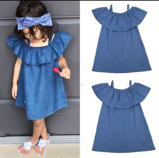 Baby Girl Denim Dress Off-Shoulder