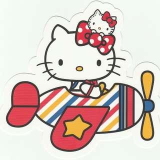[Thick Version] Hello Kitty Go Around Singapore Gotochi Postcard - Aeroplane