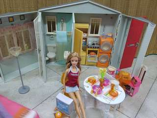 Barbie dolls, house and accessories