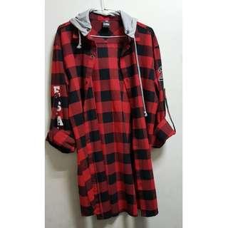 紅黑格子襯衫外套(帽子可拆)