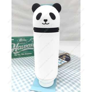 可愛熊貓- 日本 LIHIT LAB.PUNILABO 動物軟矽膠立體筆袋