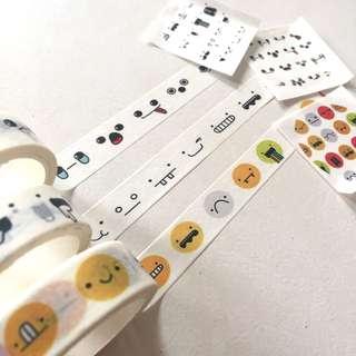 Set of 3 expressions emoji Washi Tape