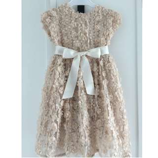 Beige flowery Girl's dress size 4-5