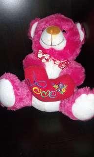 PRELOVED boneka Teddy Bear PINK Love