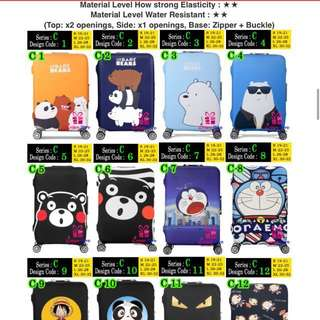 Many Stocks Luggage Cover Protector over 200 designs! Walk in to warehouse store for purchase @ Paya Lebar MRT!