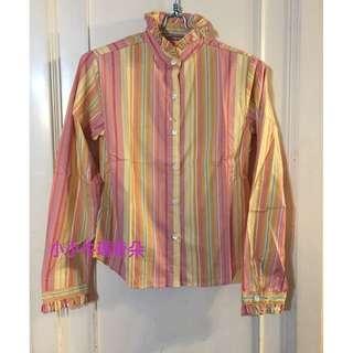 🚚 ~小小牛瑪奇朵~日本小店帶回粉色直條紋花苞領襯衫