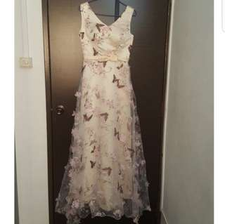 BN champagne nude maxi gown with butterflies and flowers 3D