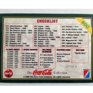1995 Coca Cola Series 4 Base Card #400 - Checklist