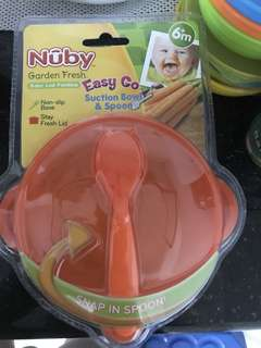 Suction bowl and spoon for babies