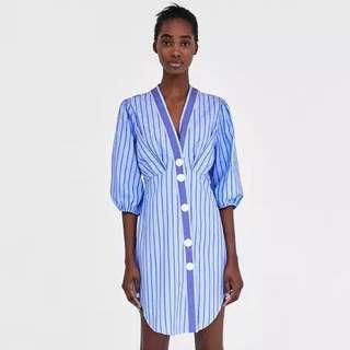 Europe and US vertical stripes printed B-neck waist long shirt dress