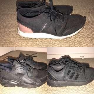 Adidas hurache, zflux, black pink white