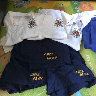 OLGC PE attires XXS (2 PCs) / M (1  PC) T shirt Size 30