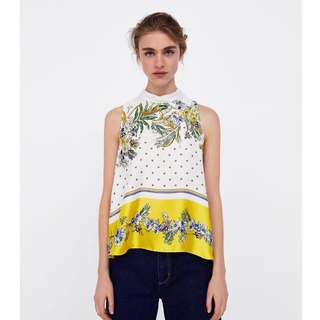 European and American style flower print small high collar back line width loose vest TOP