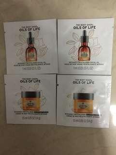 The body shop sleeping cream & facial oil sample per pack