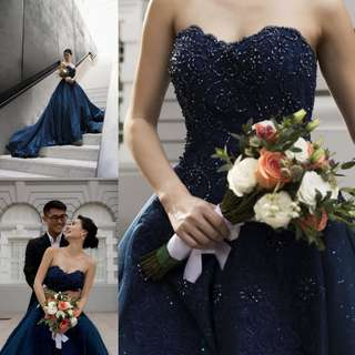 Instock - sparkling navy blue evening dress