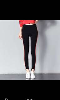 Dual red and white stripes Highwaist black jeans