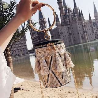 Tassels Rattan Sling Bag with Round Handle