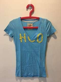 🚚 Hollister v領短袖上衣 水藍色