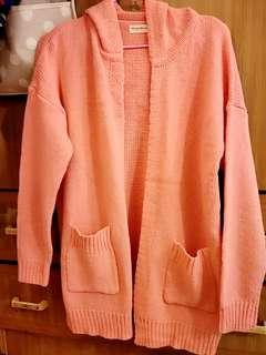 🚚 全新OB粉色針織雙口袋連帽長版外套/可換物